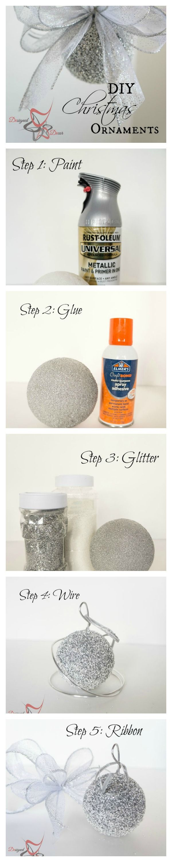 DIY- Styrofoam -Ball-Glitter-Ornaments- Christmas-www.designeddecor.com