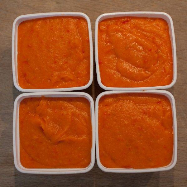 Paprika tomaat en bataat. Vanaf 6 maanden.