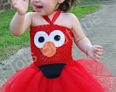 DIY Elmo costume- Red onesie with felt Elmo face and red tutu...