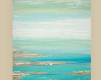 Se trata de una original de una buena pintura abstracta acrílico sobre lienzo de Galería envuelta con sin grapas visibles por Ora Birenbaum.  Se trata de un impresionante paisaje abstracto con tonos de azul marino, azul bebé, azul océano, verde azulado, turquesa y aqua que se funden en tonos de marrón. Hay un spray de color blanco brillante para el contraste. Hermoso en persona.   Título: El sueño costero Dimensiones: 24x48x1.5 (aliste para enviar hacia fuera) MEDIO: Acrílicos sobre lienzo…