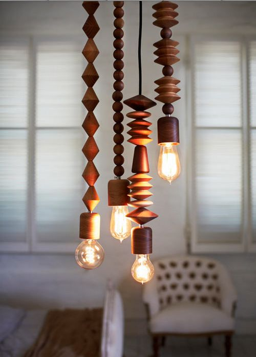 Amazing wood turned bright beads pendant lights by marz design australia love the idea of creating something similar with beads