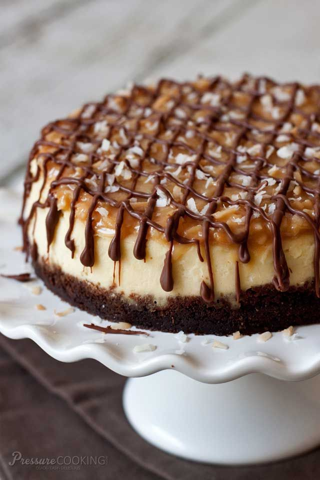 Pressure Cooker Samoa Cheesecake - rich, dense New York style cheesecake that's extra smooth and creamy when you make it in the pressure cooker.