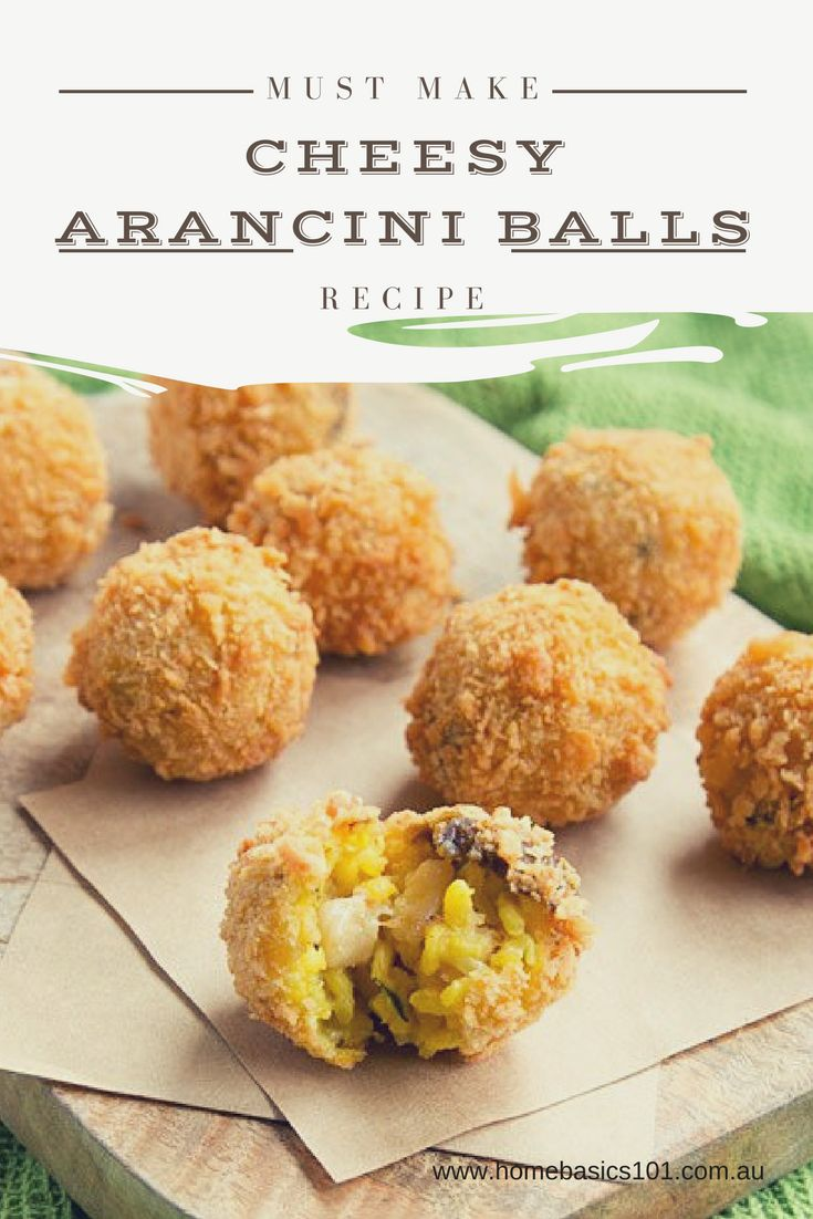 Easy Cheesy Arancini Balls  I absolutely love  arancini balls.  There's something deeply satisfying about the crispy  outside, creamy rice filling and gooey cheesy centre!  YUM!  They're  super tasty, great for entertaining and best of all, easy on the purse strings.  #Food