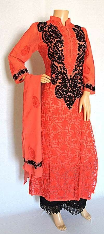 Long Lucknowi Chikankari Georgette Coral colour kurti with dupatta.