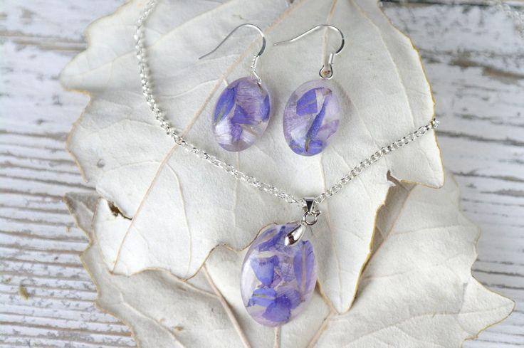 Fiori secchi reale blu impostare botanica Gioielli Set per
