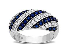 Sapphire and 3/8 ct Diamond Ring in 14K White Gold