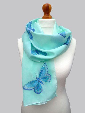 Hand painted, blue butterflies, silk scarf