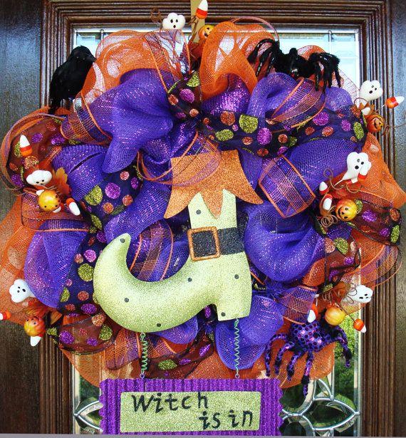 Halloween Picks for Wreaths   WITCH IS IN Halloween Wreath by decoglitz on Etsy