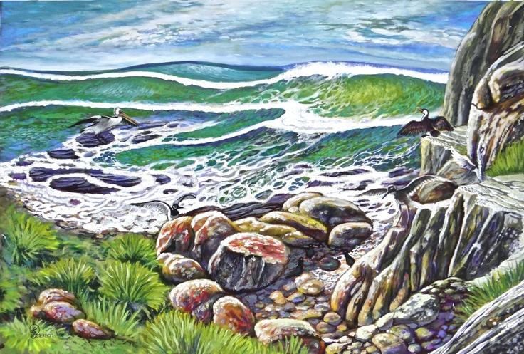 PETERSEN, SANDRA 'Wind, Waves, Birds – Dance of Life' Acrylic on canvas Size: 55x75 $1,000