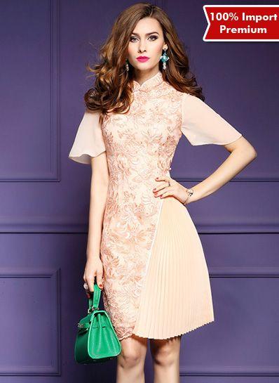 Dress / Baju Cheongsam Brukat Import Premium 608PR  | shopasista.com | Distributor baju import | distributor baju korea | grosir baju korea | grosir baju import | supplier baju korea tangan pertama | importir baju korea