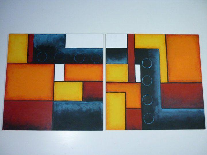 cuadros abstractos tripticos geometricos imagui