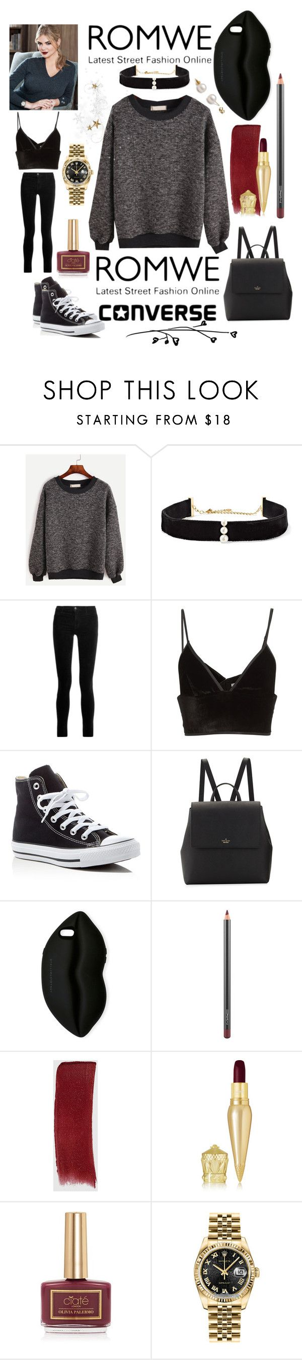 """ROMWE: Win! Contrast Trim Ribbed Sweatshirt"" by mandimwpink ❤ liked on Polyvore featuring Anissa Kermiche, J Brand, Alexander Wang, Converse, Kate Spade, STELLA McCARTNEY, MAC Cosmetics, Gucci, Christian Louboutin and Ciaté"