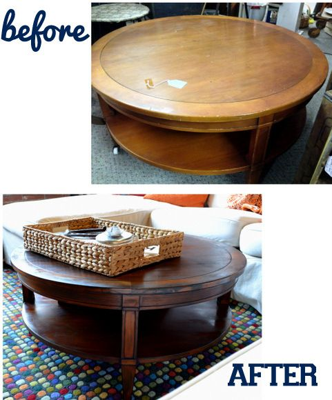 Before & After coffee table. How to stain an antique wood piece.