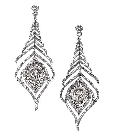 mystic light silver and pave diamond peacock feather earrings