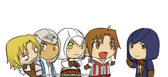 Chibi Assassins  I love how ezio is always excited to meet the newest assassin