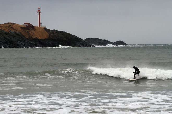 Surfer at Cape Forchu. :)
