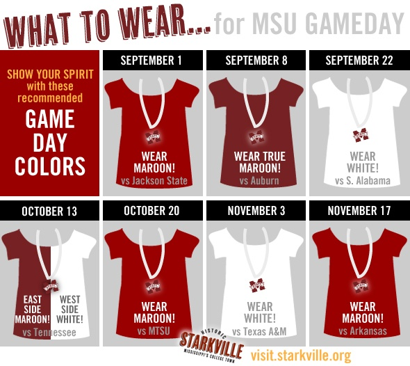 What to wear for MSU Gameday this season... the recommended colors for each game! | Pinterest