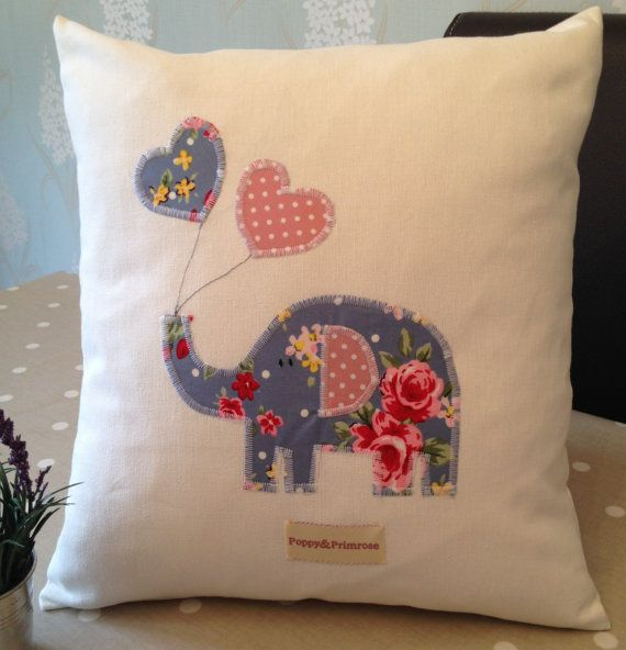 Hand made Children's Cushion/Pillow Cover with Elephant  Balloons Applique in Blue Vintage Shabby Chic Floral
