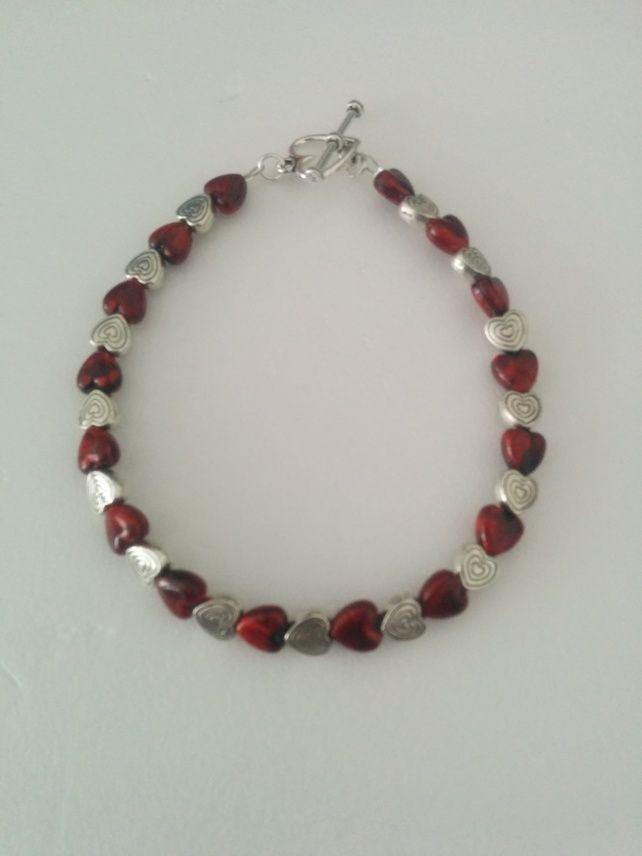 Red & Silver Heart Bracelet £5.99