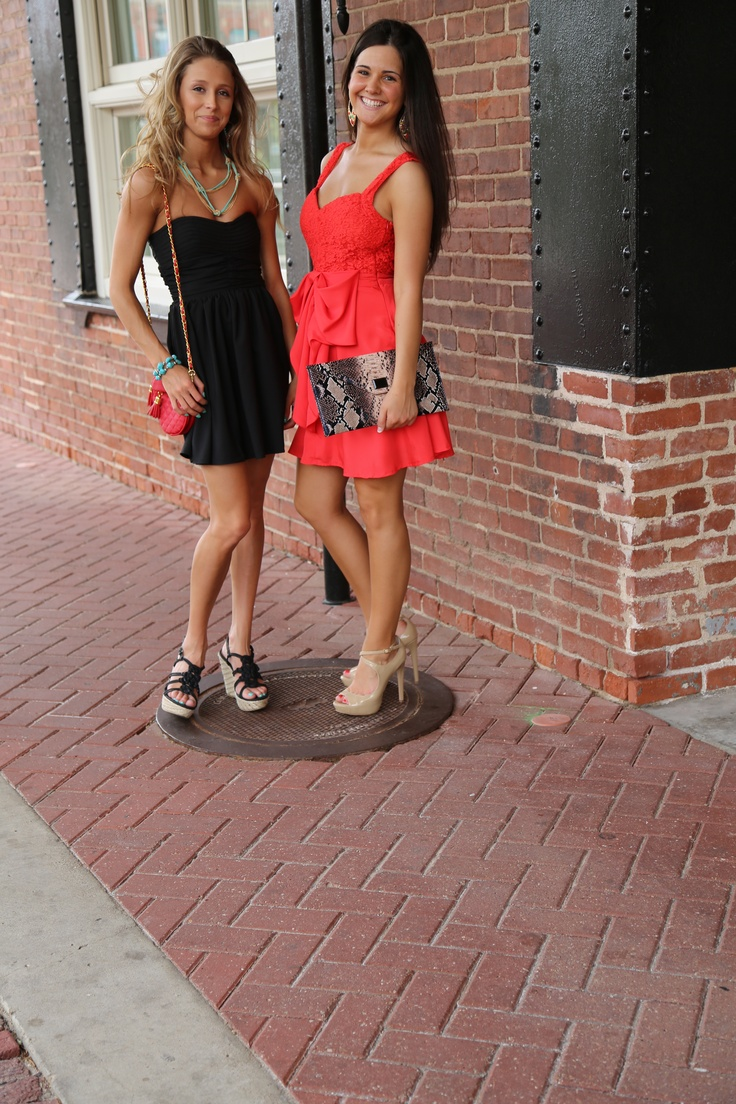 Red Bow Front Dress- $42  Black Strapless Dress- $50  Snakeskin Clutch- $45  Red Clutch- $42