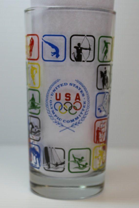 USA OLYMPIC COMMITTEE Glass, 1988 Olympics Glass, Vintage Olympics glass, Olympic souvenir glass, collectible souvenir glass, retro glass