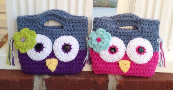 Toddler Girl Owl Purse/Birthday Gift/Little Girl by PinkLemonKnits