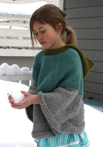Free knitting pattern for Cool Cape poncho with hood