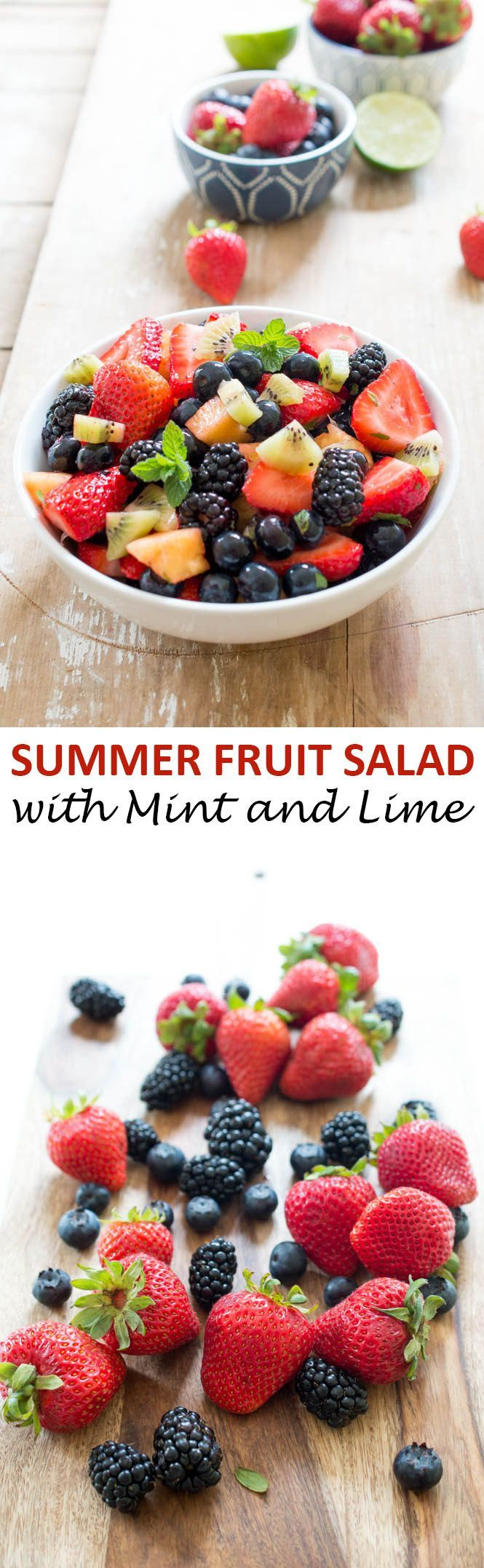 Summer Fruit Salad with Lime, Mint and Honey. A super easy and healthy side dish. Perfect for Memorial Day! | chefsavvy.com #recipe #fruit #salad #healthy