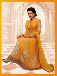 Mango Color Gorgeous Yellow Anarkali Suit With Amazing Embroidery Work