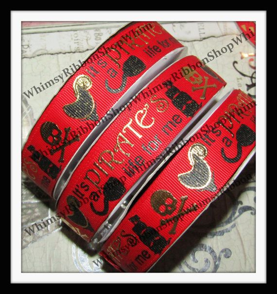 New 1 2 3 4 or 5 Yards 7/8 Glitter PIRATE Life by WhimsyRibbonShop