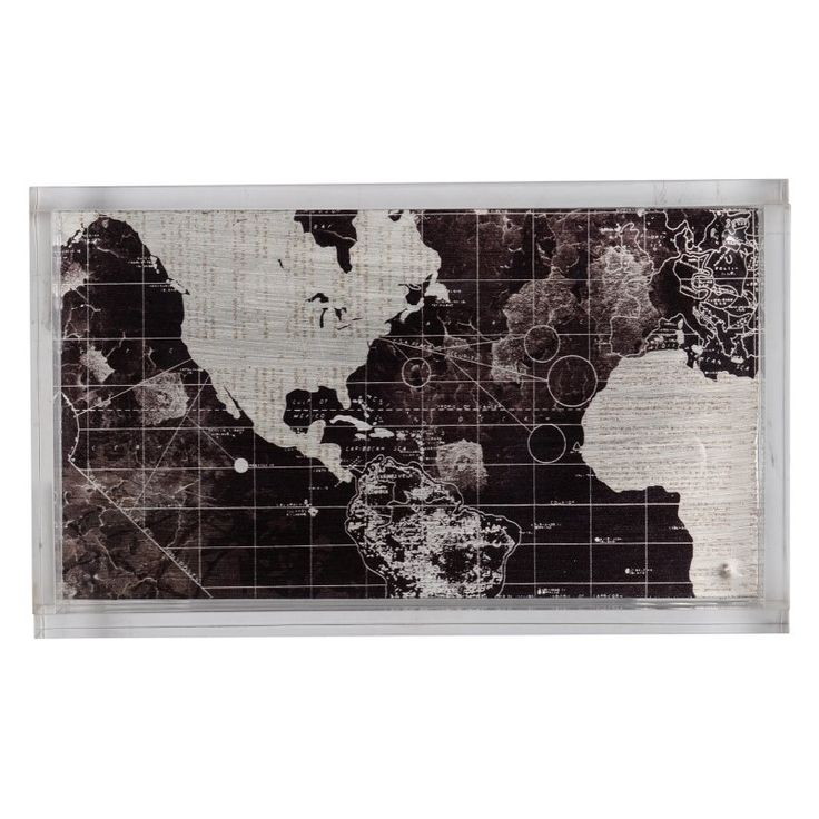 A and B Home Global Map Decorative Tray - DF42256