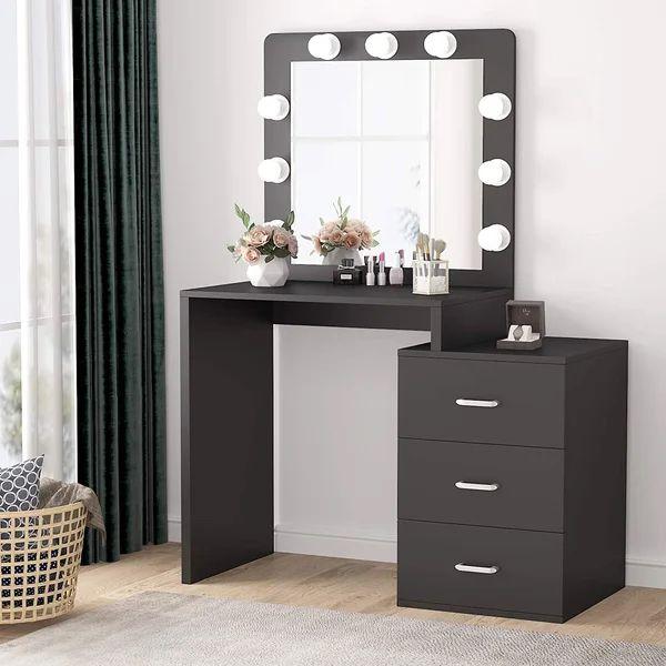 Nibbi Vanity Set With Mirror In 2021, Black Vanity Set With Light Up Mirror