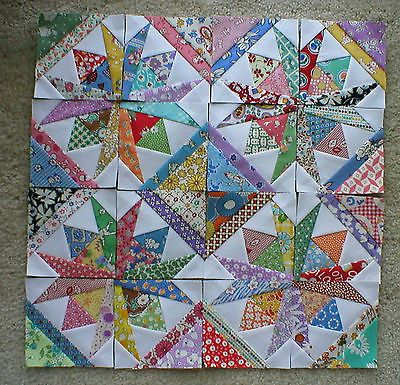 "16 Mini Quilt Blocks 3 1 2"" ea Square Dance Aunt Grace 30s So pretty"