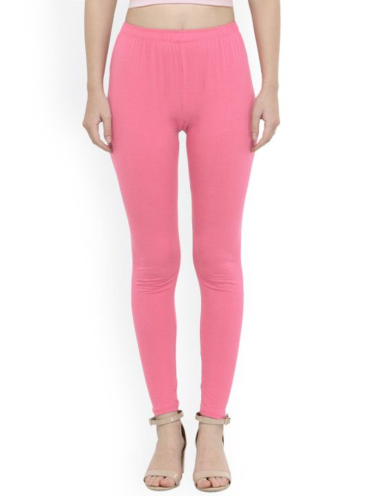 79dbfe9ca7326 N-Gal Women Pink Ankle Length 4-Way Cotton Leggings - | 316 ...