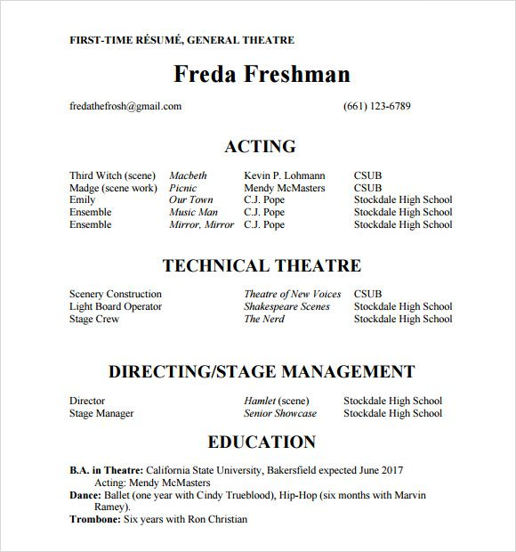 Sample Actors Resume Acting Resume Acting Resume Template Resume Template Word