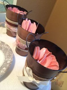 Shabby chic decor on tin pots from Dollar Tree - used as utensils holder