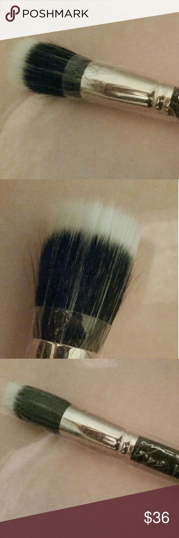 MAC duo fiber face brush #187 NEW New in plastic. This 187 duo fiber brush is meant for adding light washes of powder all over the face. MAC Cosmetics Makeup Brushes & Tools
