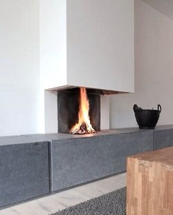 Clean fireplace with stone ledge
