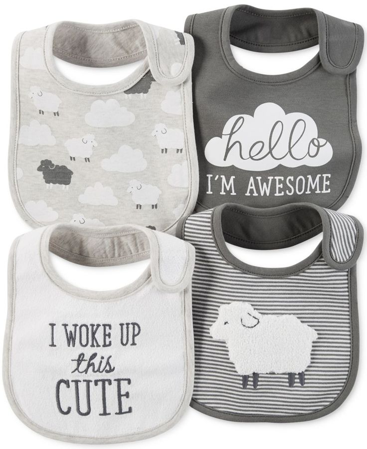 Carter's Baby Boys' or Baby Girls' 4-Pack Little Lamb Teething Bibs