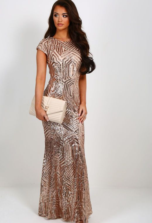 Millionaire Rose Gold Sequin Maxi Dress | Pink Boutique