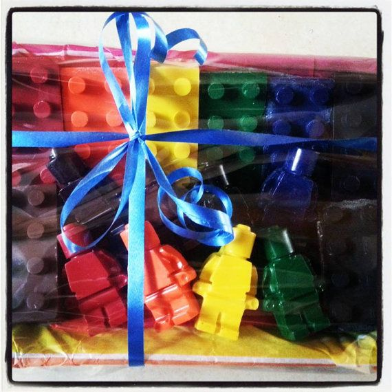 These are 100% non-toxic wax crayons in the shape of lego bricks and lego men. Handmade by me, they come gift wrapped in a lidded plastic tub with tissue paper and cellophane and ribbon. http://www.marketdirect.ie/8-lego-bricks-8-lego-men
