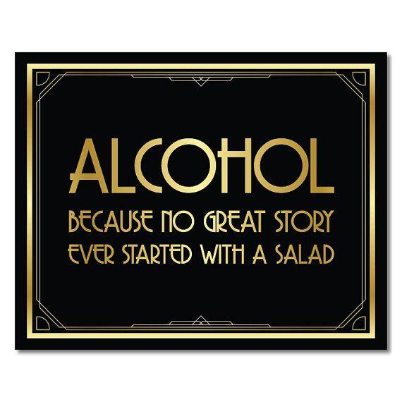 Signe à l'alcool décorations Great Gatsby art déco de nombreuses impressions