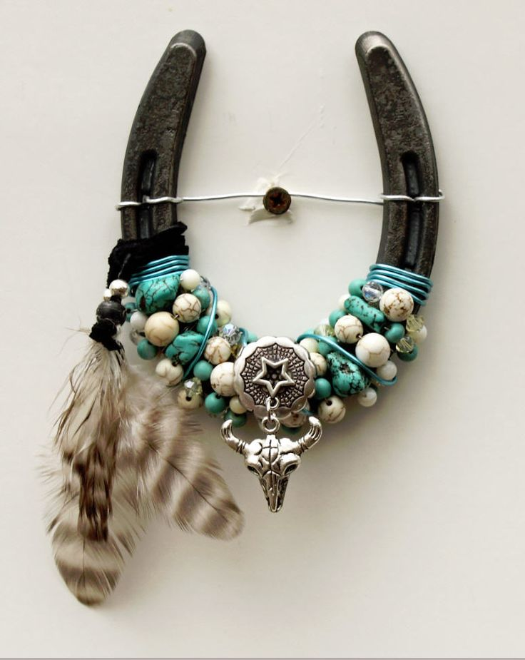 Beaded Horseshoes - Mini spirit horseshoe. Made from a pony horse shoe. handmade by Candace Harmon