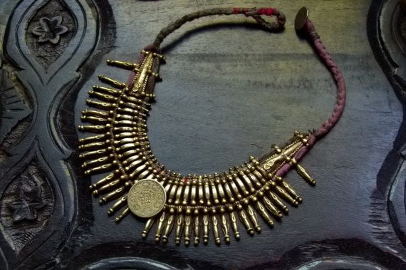 Vtg 50s 60s Antique India / Nepal Ethnic tribal ceremonial Tharu gypsy belly dance gold / brass tone old coin statement choker bib necklace