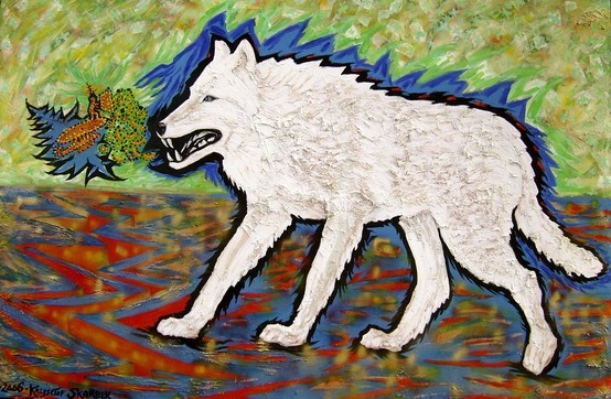 Title: Arctic wolf Date: 2006 Technique: Acrylic on canvas Size of work: 300 x 200 cm  Price: 7.700 USD