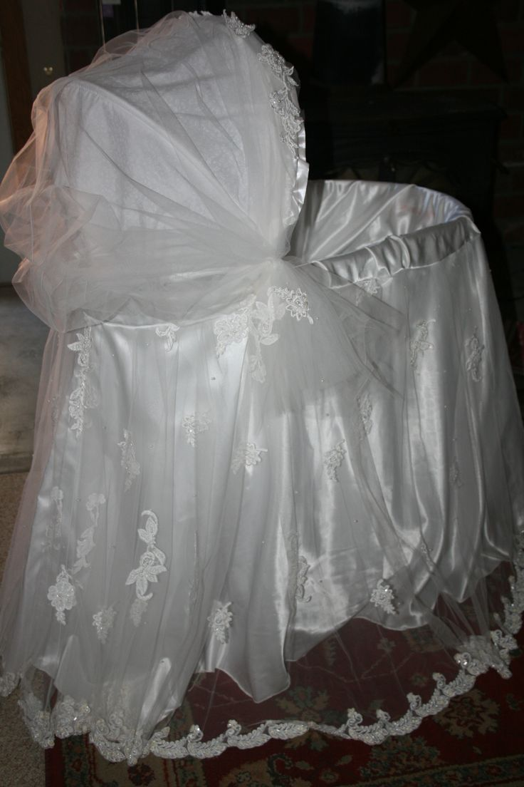 A beautiful wedding dress tailored for babies bassinet. So you can have your wedding or favorite dress for your special baby and such a sweet gift. My daughter just got married in June, and where is has her wedding dress been hanging? In my room. I see people all day trying to sell them for nothing. What better to do with it. This is the next chapter. And keeps it in the family. And make that baby bassinet go from a regular, to a conversation piece. Baby will feel as special as mom in that…
