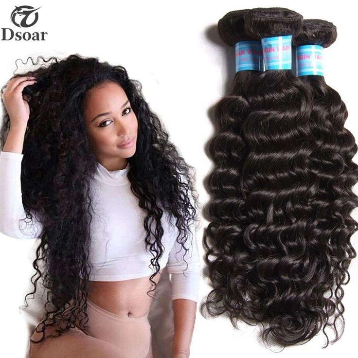 7A Malaysian Deep Wave Virgin Hair Weaves 1/3 Bundle Curly Human Hair Extensions #Dsoar #WaveBundle