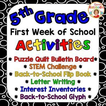 First Week of School Activities Pack for 5th grade includes everything you'll need to establish a positive classroom environment right from the start! The back to school glyph, first of the year flip book, STEM challenge, and interest inventories are sure to help you understand your new class of students in no time and will also help students get to know each other well!