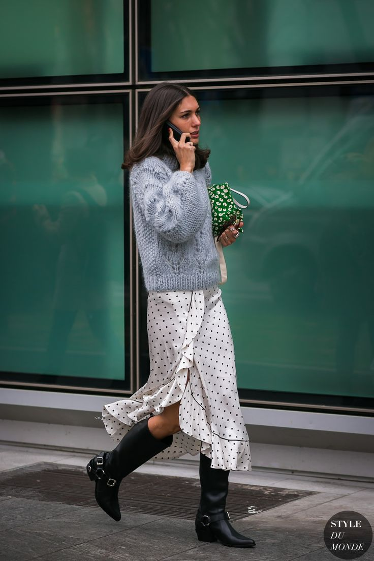 Love the play with chunky knit combined with delicate fabric in the skirt.