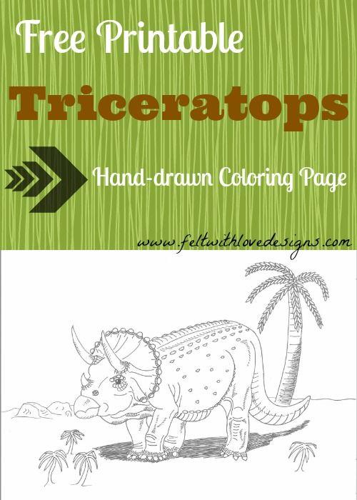 free printable dinosaur coloring page triceratops